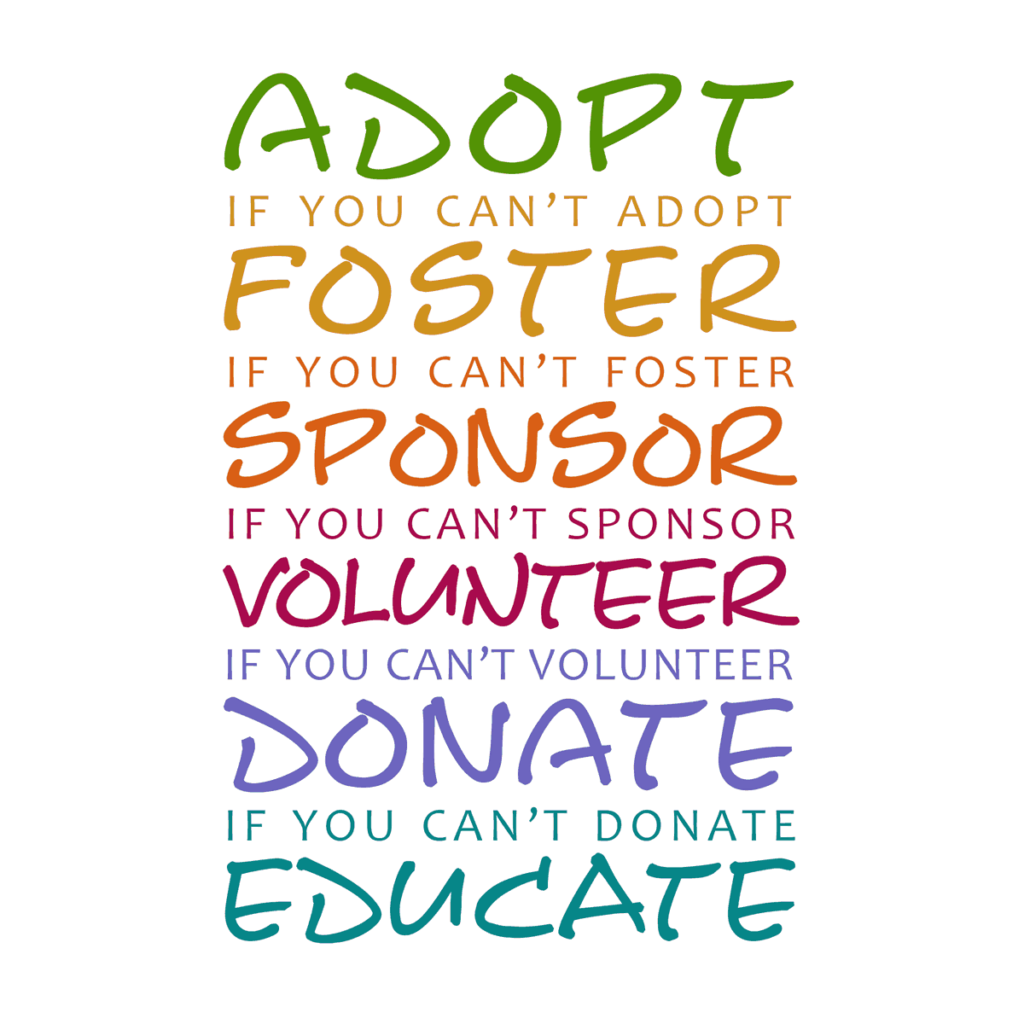 Graphic - Do Something, Adopt, Foster, Sponsor, Volunteer, Donate, Educate